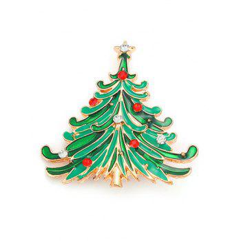 Rhinestone Pentagram Christmas Tree Brooch - GREEN GREEN