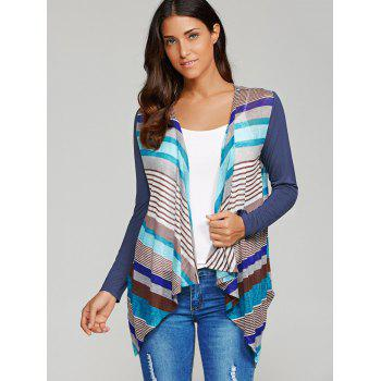 Striped Asymmetrical Sheer Cardigan