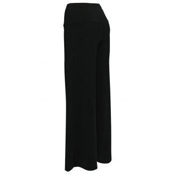 Elastic Waistband Wide Leg Palazzo Pants - BLACK 2XL