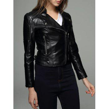 Embossed Cropped PU Leather Jacket