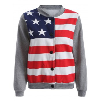 Flag Print Buttoned Sweatshirt Jacket