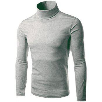 Laconic Slimming Candy Color Long Sleeves Men's Turtleneck Knitted T-Shirt