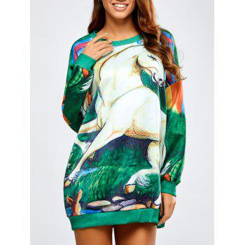 Long Horse Print Loose Sweatshirt
