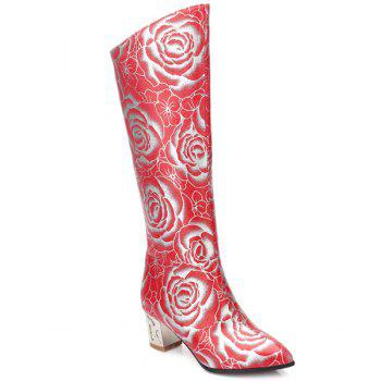 Floral Print Chunky Heel Pointed Toe Boots