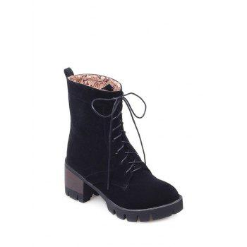 Lace-Up Mid Heel Combat Boots