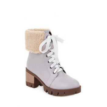 Chunky Heel Faux Shearling Lace-Up Boots