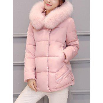 Slim Faux Fur Collar Puffer Jacket