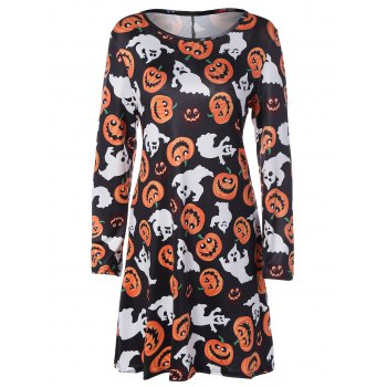 Long Sleeve Hallowmas Swing Dress