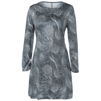 Long Sleeve Net Print Hallowmas Mini Swing Dress