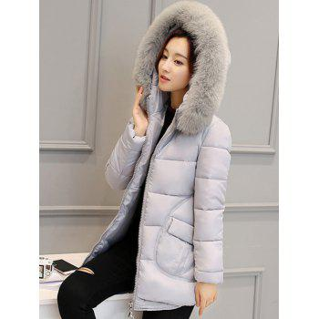 Pocket Padded Coat with Furry Hood - LIGHT GRAY L