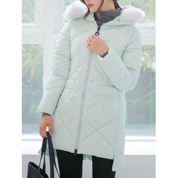 High Low Hooded Quilted Coat