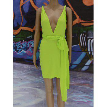 Plunge Neck Backless Infinity Club Dress