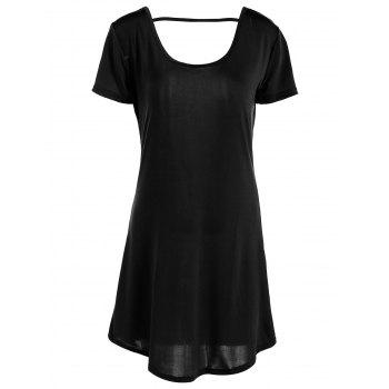Casual Women's Hollow Out Short Sleeve Scoop Neck Dress