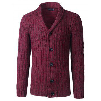 Twist Striped Shawl Collar Button Up Texture Cardigan