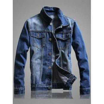 Casual Pocket Front Long Sleeve Denim Jacket