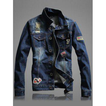 Letter Number Embroidery Long Sleeve Distressed Denim Jacket