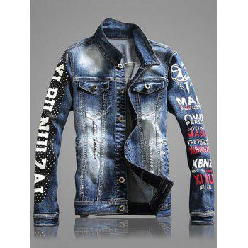 Letter Print Multi-Pocket Distressed Denim Jacket
