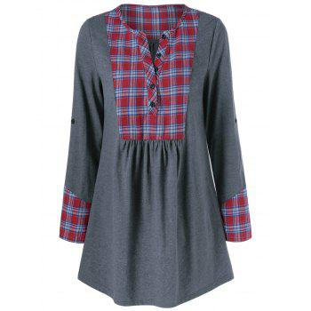 Plaid Trim Adjustable Sleeve T-Shirt