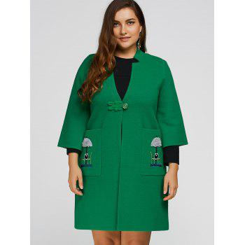 Buy Plus Size Embroidered Side Slit Coat GREEN