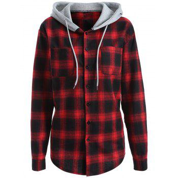 Casual Hooded Loose Gingham Checked Shirt