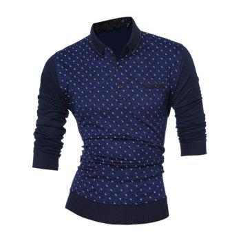 Color Block Long Sleeve Printed Polo Shirt