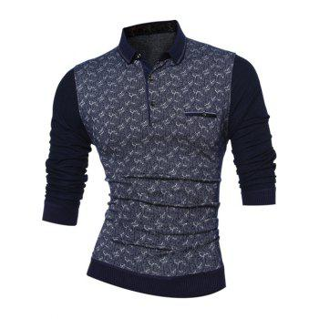 Rib Long Sleeve Flap Pocket Turn Down Collar Printed T-Shirt