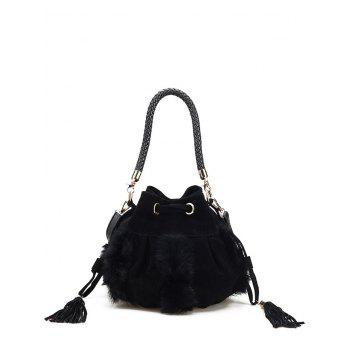Faux Fur Tassel Braid Bucket Bag