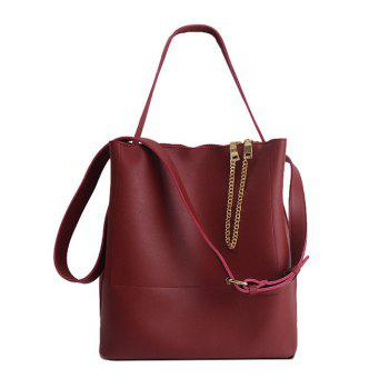 Faux Leather Chains Shoulder Bag - RED