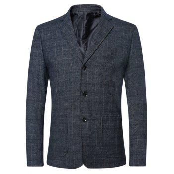 Button Lapel Long Sleeve Checked Blazer