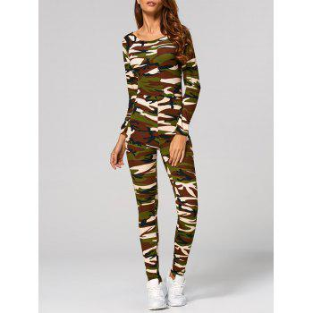 Long Sleeve Camouflage Print Jumpsuit