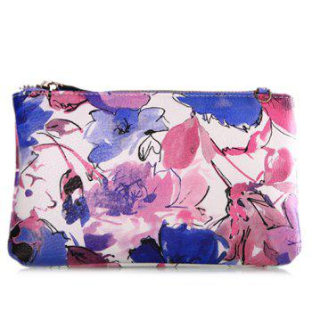 Colored Floral Print Chains Pouch Bag