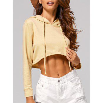Drawstring Long Sleeve Hooded Crop Top