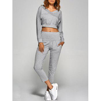 V Neck Back Cutout Crop Top With Pants