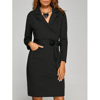 Lapel Tie Waist Dress with Pocket