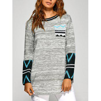 Buy Zigzag Tunic Knitwear Front Pocket LIGHT GRAY