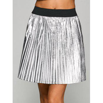 Metallic Color Pleated Mini Skirt