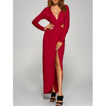 Plunging Neck Cut Out High Slit Maxi Prom Dress