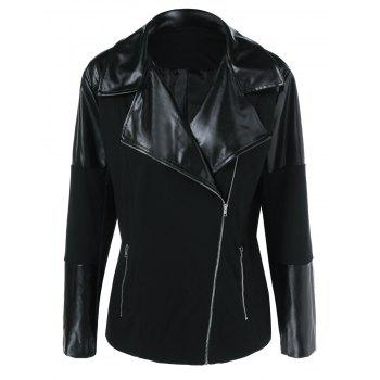 Plus Size Inclined Zipper PU Patchwork Jacket