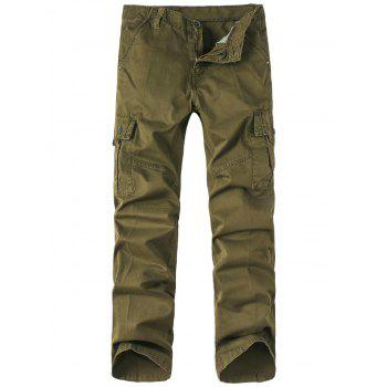 Zipper Fly Straight Leg Pockets Embellished Basic Cargo Pants