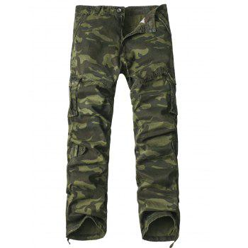 Buy Pockets Design Straight Leg Zipper Fly Camouflage Cargo Pants ARMY GREEN