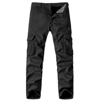 Zipper Fly Straight Leg Pockets Embellished Fleece Cargo Pants