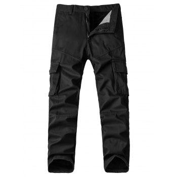 Zipper Fly Straight Leg Pockets Design Fleece Cargo Pants