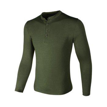 Grandad Collar Long Sleeve Buttons Design T-Shirt