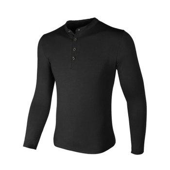 Buy Grandad Collar Long Sleeve Buttons Design T-Shirt BLACK