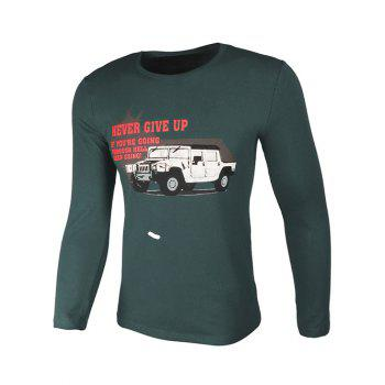 Crew Neck Long Sleeve Car and Graphic Print T-Shirt