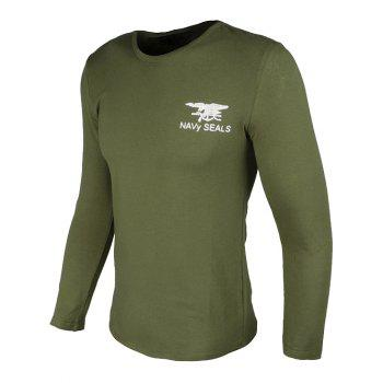 Crew Neck Long Sleeve Eagle and Graphic Print T-Shirt