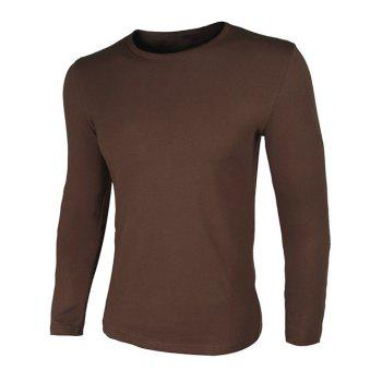 Crew Neck Long Sleeve  Simple Slimming T-Shirt