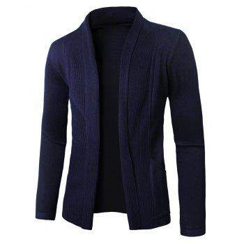 Vertical Stripe Knitted Turn-Down Collar Cardigan