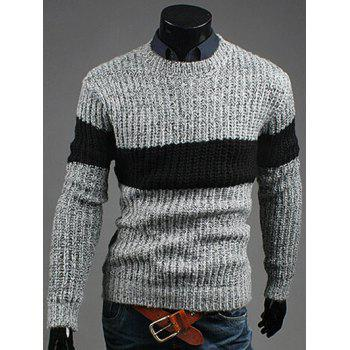 Color Matching Crew Neck Ribbed Sweater