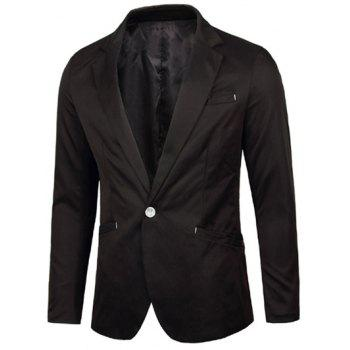 Breasted Pocket Notch Lapel One-Button Blazer